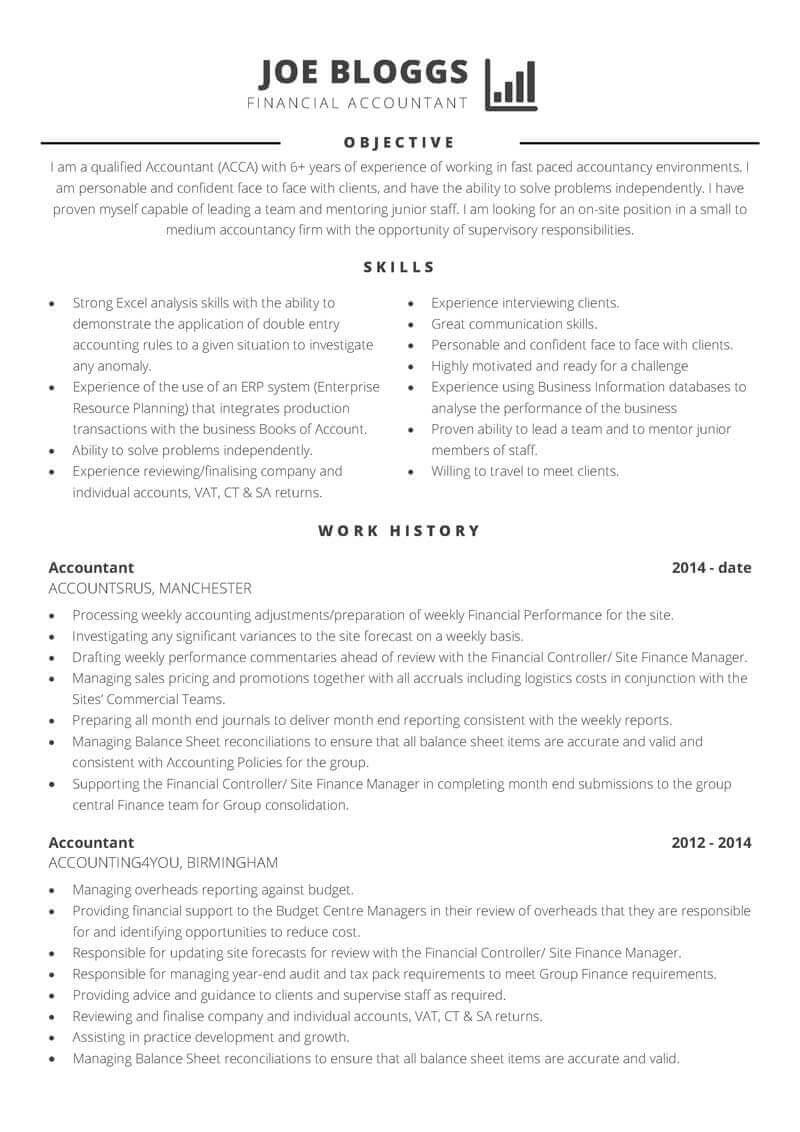 Accountancy CV template